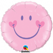 "Smiley Baby Pink Foil Balloon (18"") 1pc"